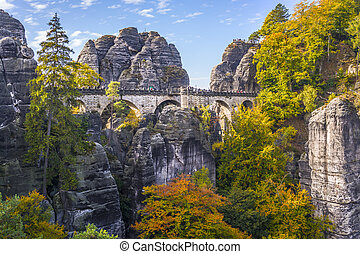Bridge named Bastei in Saxon Switzerland Germany on a sunny...