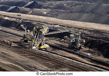 Overburden excavator in brown coal mine