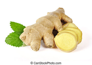 ginger with leaves - Sliced ginger with leaves isolated on...