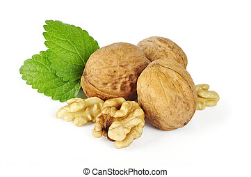walnuts with leaves - walnuts, cracked walnut and leaves...