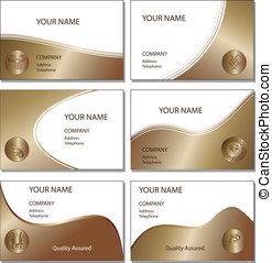 Six bronze business cards