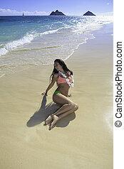 beautiful girl at the beach in Lanikai, Hawaii