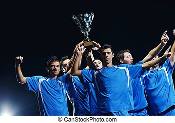 soccer players celebrating victory - soccer players team...