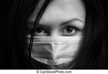 Girl in protective mask
