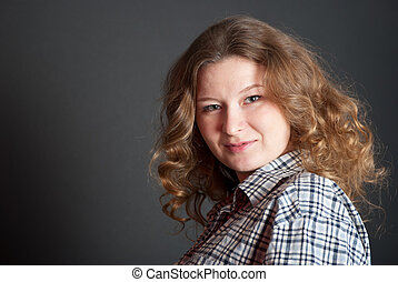 Dark blond curly-headed girl - Portrait of dark blond...