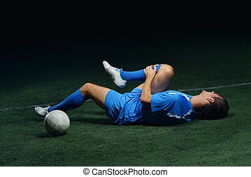 soccer injury - soccer player have pain injury accident on...