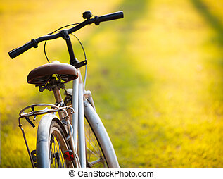 A bicycle in meadow during sunset - An old bicycle in meadow...