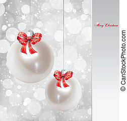 Pearl Christmas Ornament Vector background - Christmas balls...