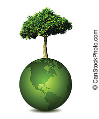 Earth planet with a tree. Vector illustration