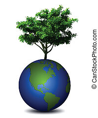 Earth planet with a tree. Vector