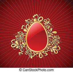Easter gold Egg Vector illustration