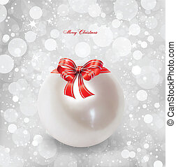 Pearl Christmas with red bow Vector illustration