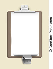 Metallic clamps on the sheet of paper. Vector eps10