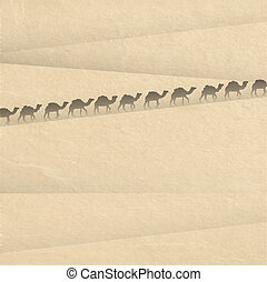 Sahara with silhouettes of camels. Vector illustration