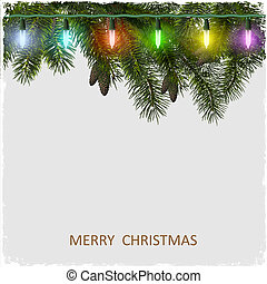 Vector Christmas card with fir tree branch and garland