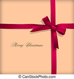 Greeting card with pink bow Vector illustration