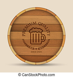 Beer label in form wooden barrel. Vector eps10