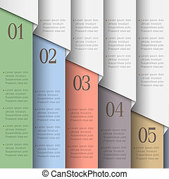 Paper numbered banners in pastel colors. Vector design...