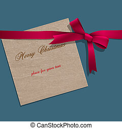 Christmas paper note with pink ribbon