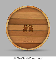 Vector beer label in form wooden barrel