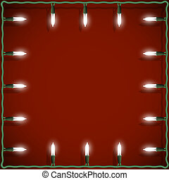 Christmas lights frame on red background