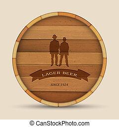 vetorial, Cerveja, etiqueta, forma, madeira, barril, dois,...