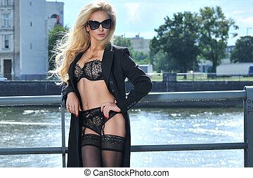 Blonde beauty posing in underwear