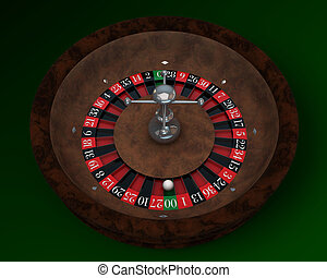 casino roulette on green table