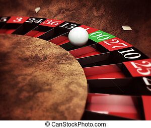 casino roulette with white ball on green numbers