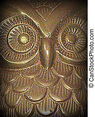 Owl print - Handicrafted owl, in print style