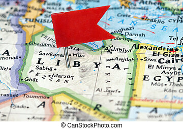 Libya - Flag pin on the map pointing Libya