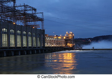 Conowingo dam at night - Dusk at Conowingo Hydroelectric...