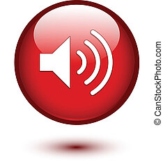 Speaker icon on red glossy button