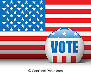 USA Vote Background with American Flag - Vector - USA Vote...