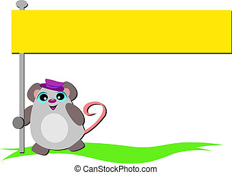 Mouse with Bright Yellow Banner
