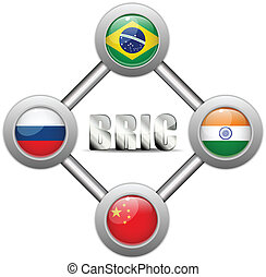 BRIC Countries Buttons Brazil Russia India China - Vector -...