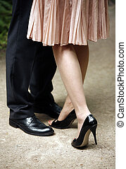 Newly-married couple - Legs of the groom and the bride