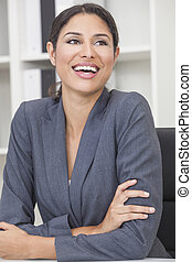 Hispanic Latina Woman or Businesswoman Laughing - Beautiful...