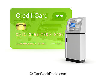 Credit card and ATM.Isolated on white background.3d...