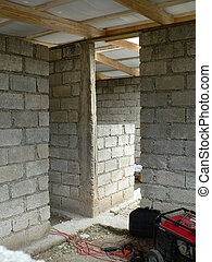 Haiti construction - Block-frame building with a lumber roof...