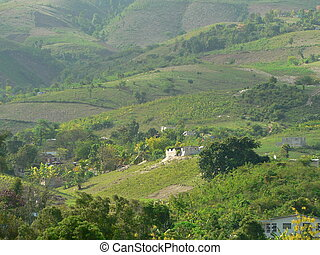 Haiti valley - Green valley in Haiti with houses.