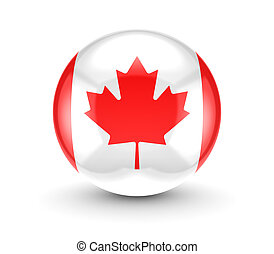 Canadian flag iconIsolated on white background3d rendered