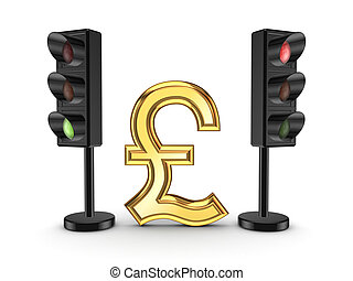 Pound sterling sign between traffic lights