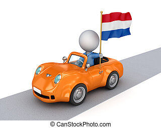 3d small person on a car with Netherlands flag.