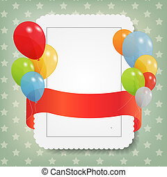 birthday card with colored ballons, vector illustration EPS...