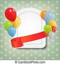 birthday card with colored ballons, vector illustration. EPS...