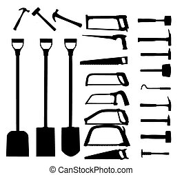 Set of power tools, shovel, drill, hammer Vector icon