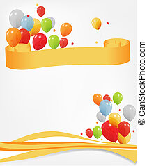 colored ballons, vector illustration header and footer EPS...