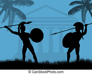 Two ancient greek wariors fighting, vector illustration