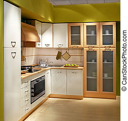 Kitchen square - Modern wooden kitchen counter with big...